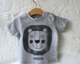 Hand Screen Printed Lion Baby T Shirt, Black print on grey marl, Unisex