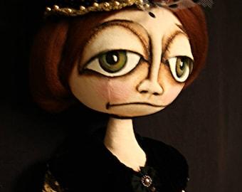 Original Folk Art Doll / Halloween Folk Art Doll / OOAK Art Doll / Whimsical Gothic Doll