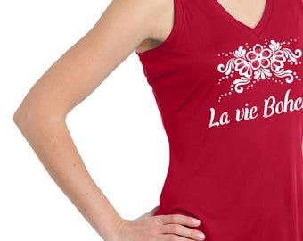 "Woman's workout Sleeveless top ""La vie Boheme""  Translation: ""The bohemian life""  A layerable, moisture wicking sleeveless Yoga shirt"