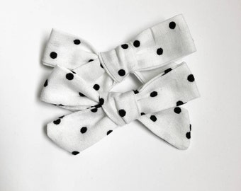 Pigtail set/ white bows with black polka dots/ handmade bows