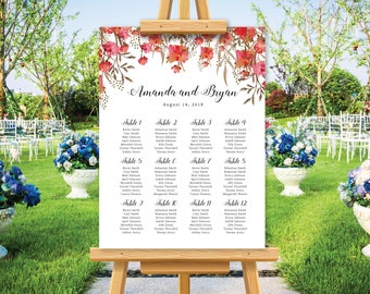 Red floral watercolor wedding seating chart, wedding seating plan poster, rustic and barn wedding, personalize wedding sign, printable