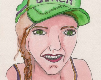 Beach Hat Face. Fine Art, Watercolor Painting, Gift Art, Small Art, Watercolor, Painting
