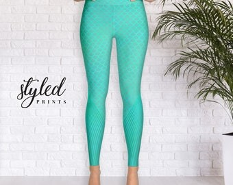 Yoga Pants - Mermaid Design - Aqua Leggings