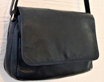 Tula Soft Leather Navy Blue Shoulder Bag/Messenger Bag/ Multi pockets/Flap over bag/ Retro Bag