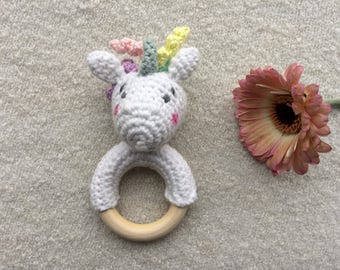 Crocheted Rattle, Griffin, Unicorn