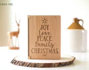 Christmas Gifts, Engraved Wood Photo Album, Christmas Photo Album, Gift for Family, Friends, Neighbors, Grandparent Gift, Joy, Love, Peace