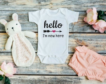 Baby girl coming home outfit - Hello Im new here - Hello Im new here girl - Hello Im new here outfit - Baby girl outfits - Baby girl clothes