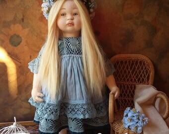 Art fabric doll, OOAK  - Chloe in blue