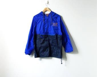 """90s Shooting Star """"Making a Difference"""" Hooded Blue Windbreaker - Colorblock 90s Windbreaker Vintage Windbreaker Jacket - Men's S"""