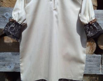 Baby girls nightgown, Girls nightgown, beige lace nightgown, kids pajamas, sleepwear, cotton robe.