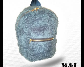 Blue faux fur fluffy backpack