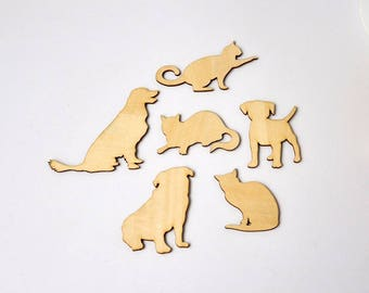 Cute Anminal Shape Wooden Decor Laser Cut Wooden Shapes Cats And Dogs Wedding Home Shop Decoration 48pcs/lot