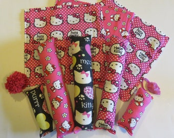Hello Kitty gift bag with organic catnip- 10 cat toys- kickers, mats, mouse toy & more!