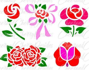 floral svg Flower SVG file Floral clipart Rose SVG flowers DXF flower vector spring svg flower monogram svg Silhouette Cameo Cricut Cut File