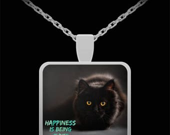 """CAT LOVER NECKLACE! Really cool black cat photograph celebrates all things cat! Perfect gift for a cat mom! 22"""" Silver Necklace!"""