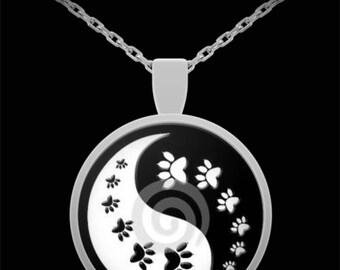 Yin Yang Animal Paw Print Necklace Jewelry Pet Lover Dog Parent Valentine Wedding Anniversary Birthday Present