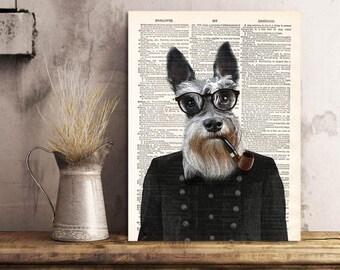 Schnauzer Dog Art Print, philosopher Schnauzer Print Cool Dog Art, Dog Wall Decor Art, Dog Artwork Print on Dictionary Page, Gift idea