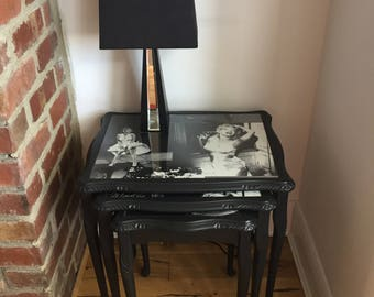 Upcycled Furniture - Retro Marilyn Monroe inspired Nest of 3 Solid Wood Tables