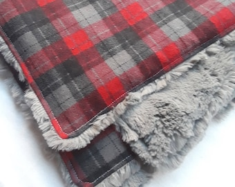 Plaid Baby Blanket, Plaid Lovey Security Blanket, Lumberjack Nursery Minky Plaid Faux Fur Lumberjack Baby Blanket Buffalo Plaid Woodland