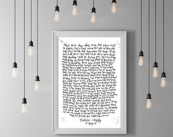 Thinking out loud lyrics print, Custom lyrics poster,  Hand lettered, A3 Custom song lyrics, Unique wedding gift, Custom anniversary gift