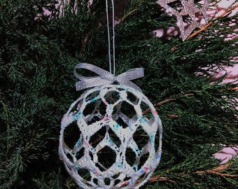 Lace Crochet Ball, White Melange Christmas Ball, Christmas Decor, Handmade Idea.