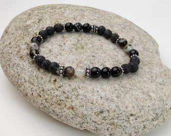 Black Stretch Bracelet | Black Bracelet | Stretch Black Bracelet | Black | Stacked Bracelets | 6mm beaded bracelet