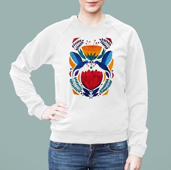 Love Birds | American Apparel Unisex California Fleece Raglan | Graphic Sweatshirt | Watercolor kissing hummingbirds | Ethnic art | ZuskaArt