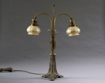 Antique French Bronze Double Arm Lamp