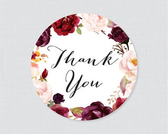 Marsala and Pink Floral Wedding Stickers - Rustic Flower Wedding Thank You Stickers - Flower Circle or Square Wedding Labels for Favors 0006