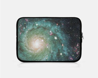 Space Laptop Sleeve, Galaxy Laptop Sleeve, Zipper Laptop Sleeve, Galaxy Macbook Sleeve, Space Macbook Pro 15 inch, Green Laptop Sleeve,
