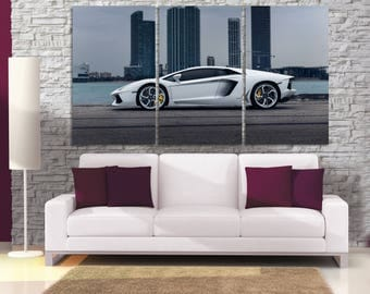White Lamborghini Canvas Print, lamborghini Silhouette, Lamborghini Poster, New York Cityscape, New York City Car Wall Art, Cityscape MR09