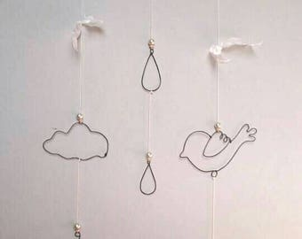 Mobile for nursery or child's room, poetic and soft wire, deco trend decoration mobile cloud bird feather
