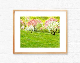 Downloadable landscape art,Green field spring blossom,printable wall art print,instant digital download,nature art,office & Home wall decor