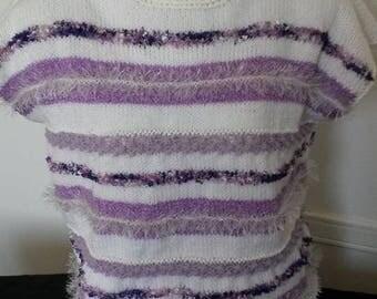 WHITE/purple sweater