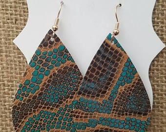 Snake skin print leather tear drop earrings