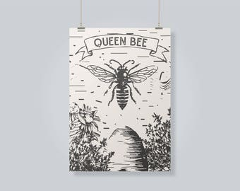 Queen Bee Digital Print, Graphic Design Print