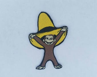 Monkey iron on inspired embroidery patch, curious george birthday party inspired embroidery patch applique