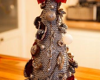 Silver Chic Table Christmas Tree Handmade Festive Home Christmas Decor