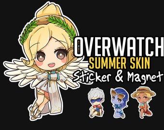 New!! SUMMER SKIN Stickers and Magnet Overwatch, Mercy,Widowmaker,Soldier76,Mccree