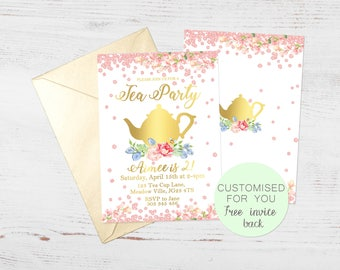 Girls Tea Party Invite | Birthday Party Invitation | FREE Invite back | Flowers | Digital Download | Customised Personalised | Printable