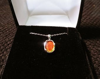 Ammolite Gemstone Solid Sterling Silver Necklace