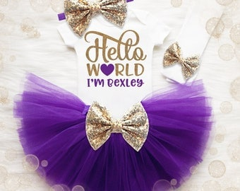 Hello World Outfit | Hello World Shirt | Newborn Tutu Set | Coming Home Outfit | Baby Girl Shower Gift | Baby Name Shirt | Purple And Gold