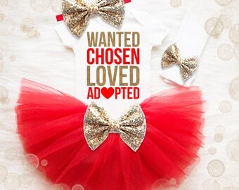 Girl Adoption Outfit | Wanted Chosen Loved Adopted | Adoption Announcement Shirt |  Adoption Day Shirt |  Gotcha Day Shirt