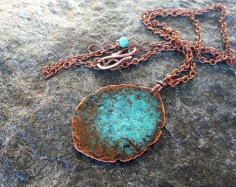Boho choker neacklace, Rustic necklace, Hammered copper pendant, Verdigris necklace, Blue patina necklace, Copper necklace