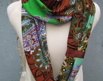 African Print Scarf - Tribal Scarf - Long Scarf - Paisley Scarf - Tribal Print Scarf - Tropical Print Scarf - Floral Print Infinity Scarf