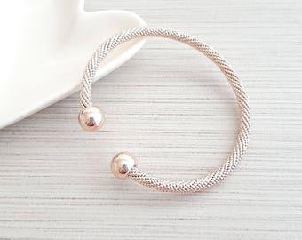 Rose Gold Twisted Bracelet, Rose Gold Bracelet, Rose Gold Open Cuff Bracelet, Rose Gold Rope Bracelet, Rose Gold Twisted Bangle, Bangle
