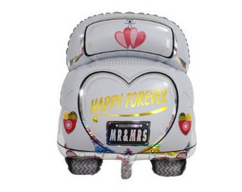 Mr & Mrs Car Balloon for Wedding or Engagement Party | Happy Forever