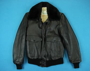 60s Bomber Jacket ~ S // Vintage, Black, Sherpa Lined, Cafe Racer, Leather, Retro, Flight, 1960s, 1970s, Military, Coat, Men, Small