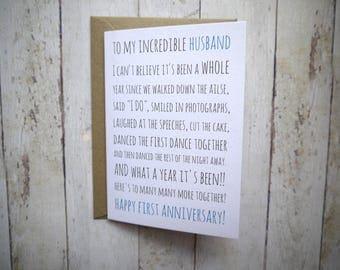 First Anniversary card // 1st Anniversary Husband // Card for Husband // Card from Wife // Anniversary card for Husband // 1st anniversary