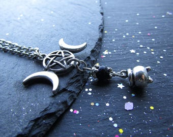 Triple Moon and Cauldron Necklace, Wiccan necklace, Triple Moon Necklace, Wicca Necklace, Wicca Jewellery, Pagan, Witch Necklace, Cauldron